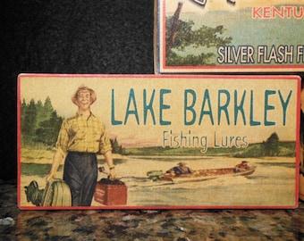 Lake Barkley fishing cabin lake house decor fishing lure boxes 4YourLake