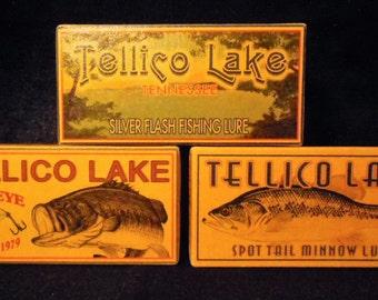 Fishing Tellico Lake Tennessee lake house cabin fishing lure boxes decor Lenoir City Vonore Morganton