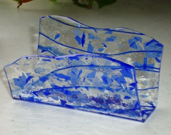 Fused Glass Business Card Holder -  Blues 40116