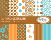 Fall, Autumn digital papers, Fall digital scrapbook paper, scrapbook patterned paper for commercial use, P39