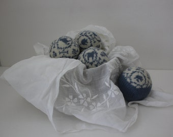 Wool Dryer Balls, Set of 4 from Repurposed Holiday Sweaters in Willow Blue