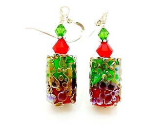 Green and Red Earrings, Lampwork Earrings, Dangle Earrings, Beadwork Earrings, Barrel Earrings, Glass Beads Earrings, Christmas Earrings