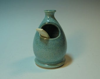 Frosty Blue Green Salt Pig / Cellar with Handmade Spoon - In Stock Ready to Ship