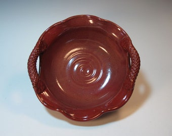 Brick Red Brie Baker Dip Bowl Candy Dish Server with Wavy Rim and Textured Handles - in Stock