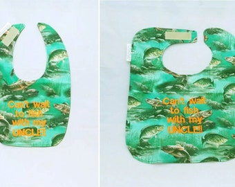 Can't Wait To Fish With my UNCLE - Small OR Large Baby Bib - Personalize Yours - FREE Shipping to U.S.