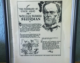 William Tecumseh Sherman Civil War March to to the Sea book page print approx7 x 11. See photo's.
