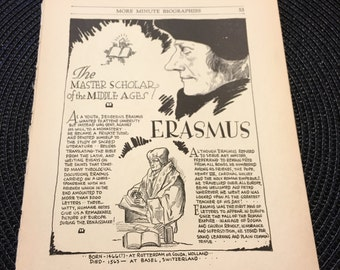 Book page print. Erasmus The master scholar of the middle ages. 7 x11 Great for framing for the collector. History.