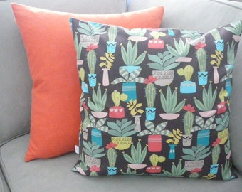 Succulent Garden Pillow - Pillow Cover - Decorative Pillow - Cactus Pillow-  Home Decor