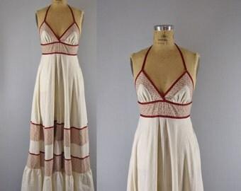 vintage 1970s maxi dress / Gunne Sax halter dress / Misty Mountain maxi dress