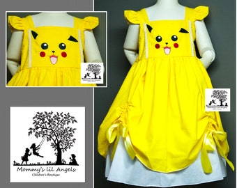 pikachu inspired embroidered peek a boo  Spring and Summer girls dress, size 6m, 12m, 2t, 3t, 4t, 5t, 6, 8, 10, 12