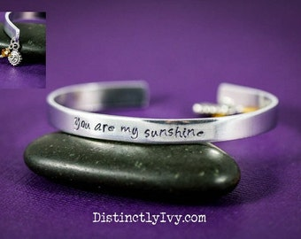 CLEARANCE • You Are My Sunshine Bracelet • Sunshine Jewelry • Custom Engraved Bracelet • Quote Bracelet • Inspirational Bracelet•Silver Cuff