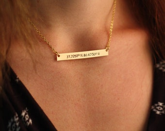 SALE - Coordinates Necklace - Personalized Coordinates Bar Necklace - Bridesmaid Gift - Long Bar - Handstamped Best Friend Gift -Friendship