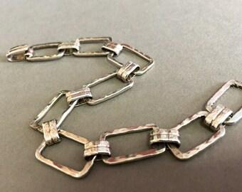 Modern Rectangles -:- hammered silver links .