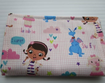 Doc McStuffins Wallet, Lambie McStuffins, Stuffy Philbert, Fabric Wallet, Card Holder, Business Card Wallet, Gift Card Holder, Small Wallet