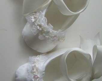 Christening Shoes . White Silk Ballet Slippers . Baby Girl Shoes . Baptism . Dedication . Lace and Flower Trim Ballet Flats . Baby Ballerina