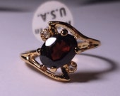 Lindenwold 14k HGE Plated Simulated Ruby Ring Size 6 NOS