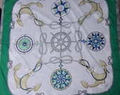 Vintage GUCCI Italy Cotton Nautical Sailing Theme Novelty Cotton Scarf