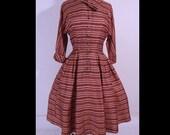 Vintage 1950s Dress 50s Dress Stripe Flowers Satin Nipped Waist Shirtwaisted Dress M