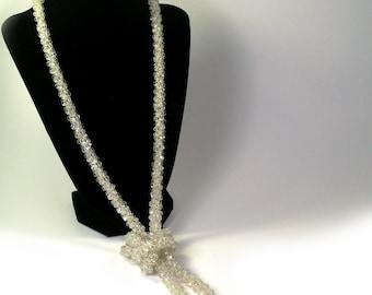 Vintage 1920s Sautoir Flapper Necklace Clear Crystal Glass Beads