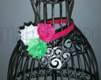 Fuchsia, White and green shabby flower headband Mini shabby flower headband newborn headband baby fuchsia pink shabby flower headband