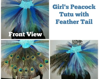 Girl's Peacock Tutu, Peacock Costume, Peacock Tutu Costume, Peacock Tutu with Feather Tail,Peacock Birthday Tutu,Flower Girl Tutu,Girls Tutu