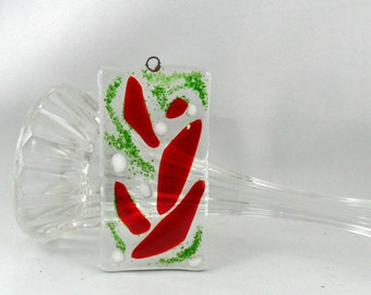 Christmas decor - fused glass gift - red and green gift - Christmas - fused glass lover - glass lover - glass gift - red and green - glass