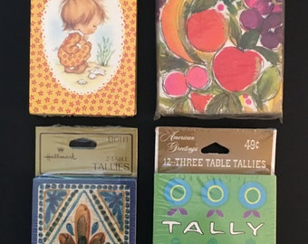 Vtg Tally Cards - Lot Of 4 In original Packages