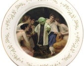 Yoda and the Nymphs Portrait Plate  - Altered Vintage Plate 6.6""