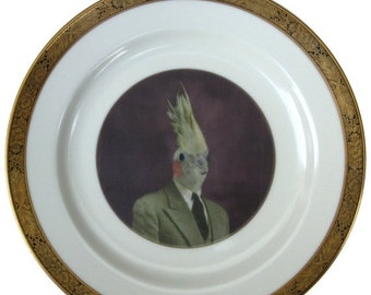 ON SALE Mr. Gary Tiel  - Altered Antique Plate 7.6""