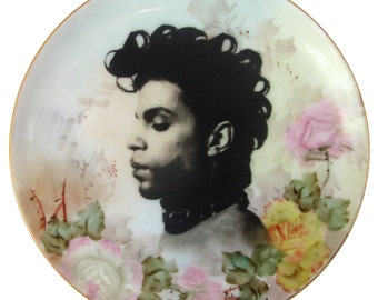 ON SALE Prince Portrait Plate - Altered Vintage Plate 6.15""