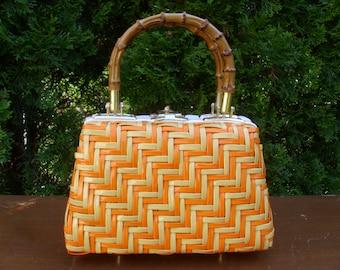 Vintage 1960's  Walborg Orange & Yellow Plastic Woven Handbag