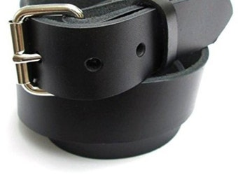 "Big & Tall Mens Heavy Duty Black Leather Belt 1 1/4"" Wide Sizes 46 - 72"