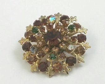Round Brown Glass Rhinestone Brooch Pin Unsigned