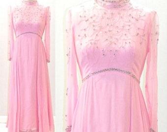 1960s Evening Dress, Vintage 60s Dress, Beaded Dress, 1960s Party Dress, Pink Chiffon Gown
