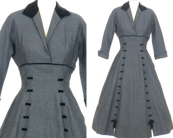 1950s New Look Dress, 50s Dress, Charcoal Gray Wool & Black Velvet Full Skirt Dress