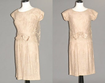 1960s Lace Cocktail Dress, 60s Dress, Taupe Mother of the Bride Dress Roy H. Bjorkman Medium