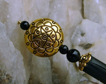 Black Onyx Gemstone Japanese Hair Stick Gold Plated Copper Traditional Hair Pin Hair Chopsticks Haarstab - Earlena