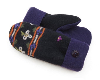 Felted Wool Sweater Mittens Fleece Lined Black with Purple and Orange Accents, Embroidered Flowers