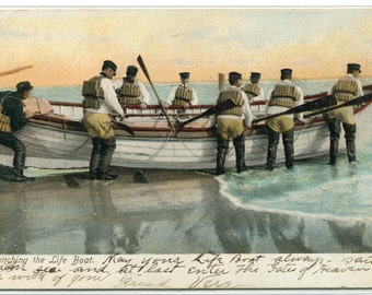 Launching The Life Boat Life Saving 1907c postcard