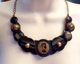 SALE, Vintage Cameo button necklace