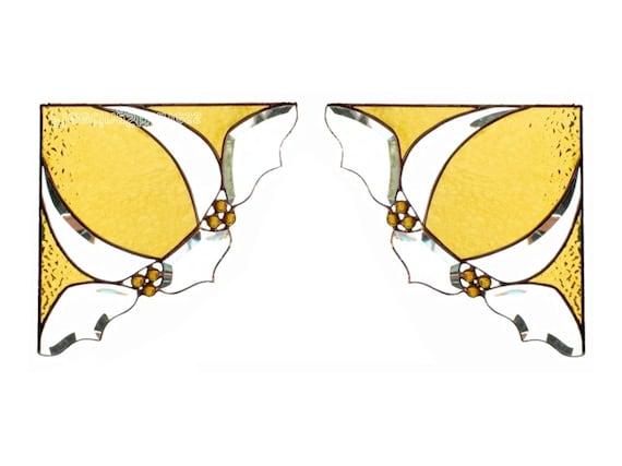 PAIR Stained Glass Window Corners Window Valance Amber Yellow Bevels