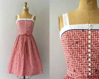 Vintage 1970s Sundress - 70s LANZ Red Floral Sundress
