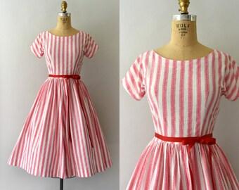 1950s Vintage Dress - 50s Striped Cotton Sundress