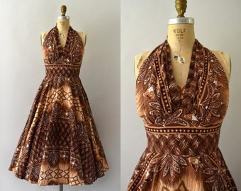 1950s Vintage Sundress - 50s Kamehameha Hawaiian Cotton Dress