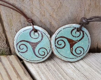 Handmade Ceramic TRISKELE pendant Green Blue Triskelion Triple Spiral symbol Sacred Trinity Earthy Rustic Boho Leather Cord Ceramic Disc
