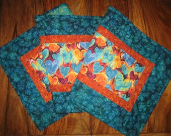 Valentines Day Table Runner, Hearts in Blue, Orange, Turquoise Plum, Quilted Table Runner, Abstract Contemporary Runner, Reversible Runner