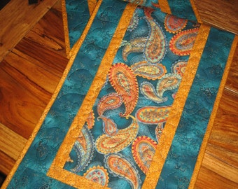 """Large Paisley Print in Turquoise, Orange, Gold, Reversible Runner 13.5 x 48"""" 100% cotton fabric"""