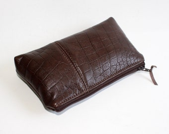 Small Leather Pouch. Leather Bag. Leather Make-Up Bag. Leather Cosmetic Bag in Dark Brown Crocodile Embossed Lambskin