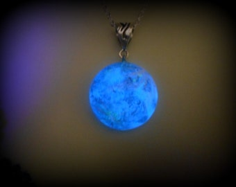 Glow-in-the-Dark Jewelry, Blue Moon Glow-in-the-Dark Necklace, Silver or Soft Black Cord - 8 hour glow!  B