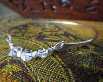 Herkimer Diamond Sterling Silver Bangle